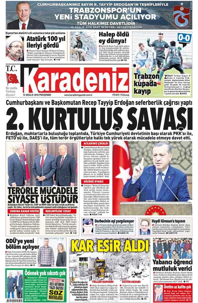 Yerel Basın - 15 Aralık 2016