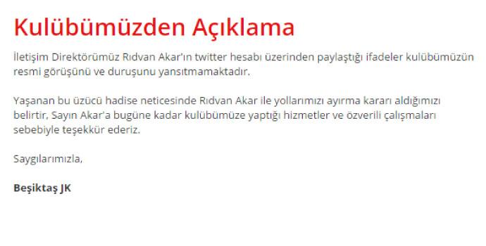 Beşiktaş Rıdvan Akar'ı kovdu