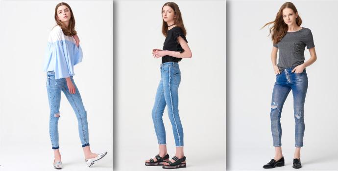 Paçaları Fırfırlı Kot Pantolon Bayan Modelleri