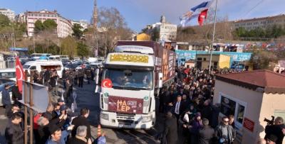 Üsküdar'dan Halep'e 100 TIR yola çıktı